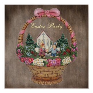 Easter Bunnies & Church Basket Easter Party 5.25x5.25 Square Paper Invitation Card