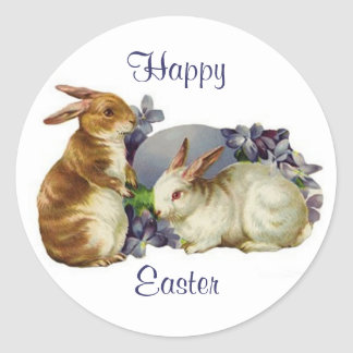 Easter Bunnies Classic Round Sticker