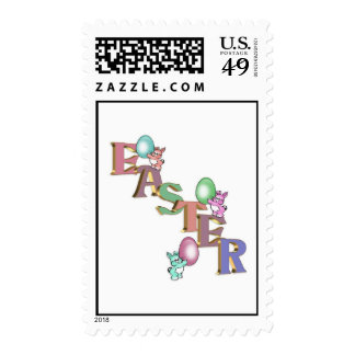 Easter Bunnies clip art holiday postage stamp
