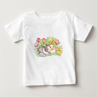 Easter Bunnies, Duckling and Tulips Baby T-Shirt