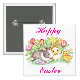 Easter Bunnies, Duckling and Tulips Button