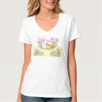 Easter Bunnies, Duckling and Tulips T-Shirt