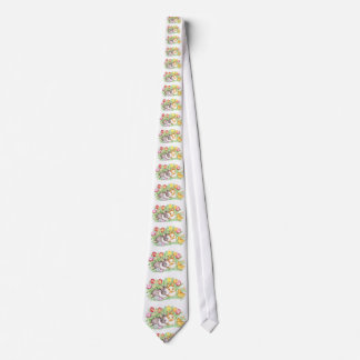 Easter Bunnies, Duckling and Tulips Tie