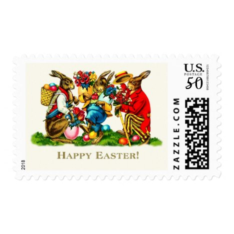 Easter Bunnies. Easter Postage Stamp
