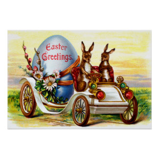 Easter Bunnies in Automobile Posters