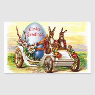 Easter Bunnies in Automobile Rectangular Stickers
