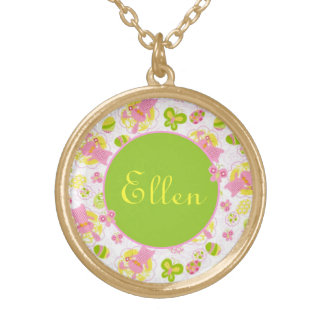 Easter Bunnies in Gingham Gold Plated Necklace