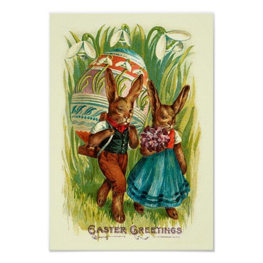 Easter Bunnies In Tall Grass Poster