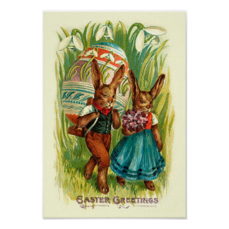 Easter Bunnies In Tall Grass Vintage Easter Poster