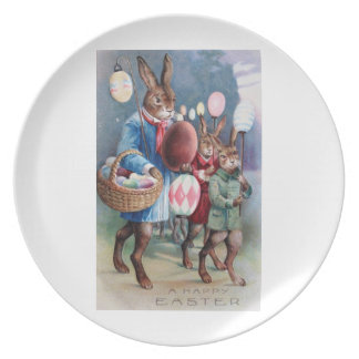 Easter Bunnies on Parade Melamine Plate