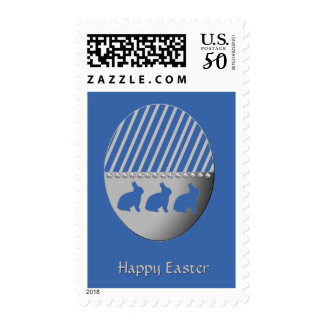 Easter Bunnies on Silver Egg Blue Postage
