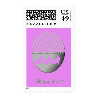 Easter Bunnies on Silver Egg Hot Pink Postage