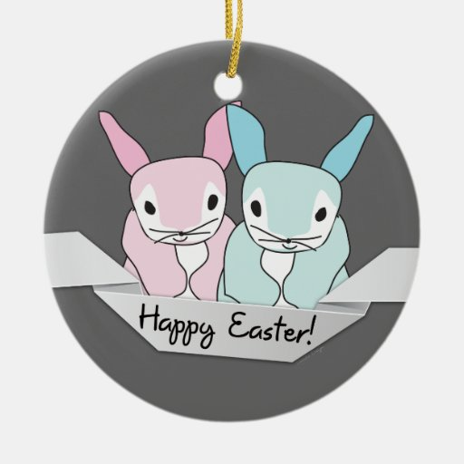Easter Bunnies Double-Sided Ceramic Round Christmas Ornament