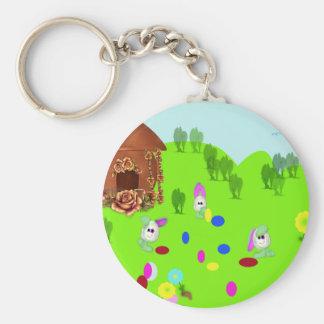 Easter Bunnies Play Football Key Chain