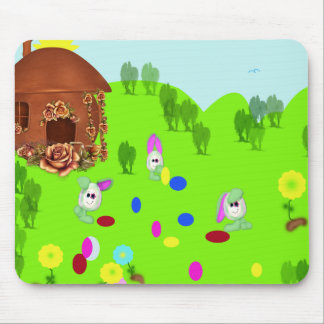 Easter Bunnies Play Football Mouse Pad
