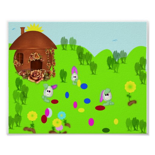 Easter Bunnies Play Football. Poster