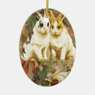 Easter Bunnies Rabbits Victorian Floral Rose Book Ceramic Ornament