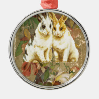 Easter Bunnies Rabbits Victorian Floral Rose Book Metal Ornament
