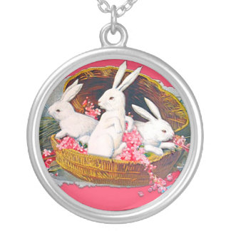 Easter bunnies Victorian Easter necklace
