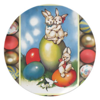 Easter bunnies with Easter eggs Party Plate