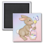 Easter Bunny and Basket 2 Inch Square Magnet