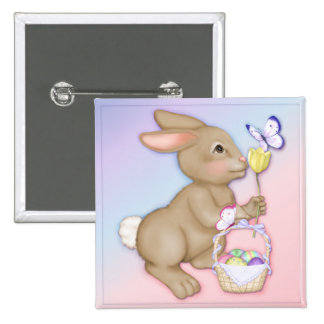 Easter Bunny and Basket 2 Inch Square Button