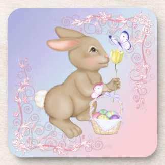 Easter Bunny and Basket Drink Coaster