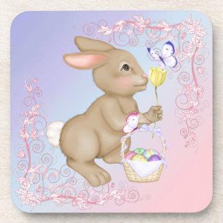 Easter Bunny and Basket Drink Coaster