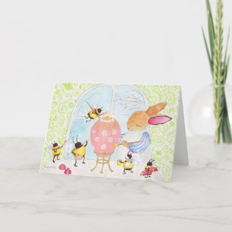 Easter bunny and bees card