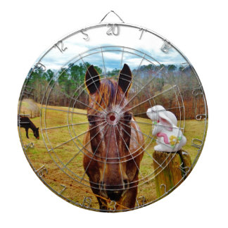 Easter Bunny and Brown horse Dartboard With Darts