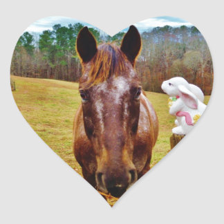 Easter Bunny and Brown horse Heart Sticker