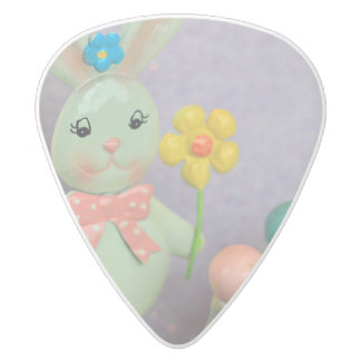 Easter Bunny and candy eggs White Delrin Guitar Pick