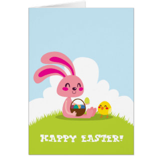 Easter Bunny and Chick Stationery Note Card