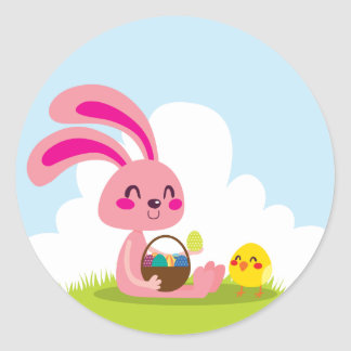 Easter Bunny and Chick Classic Round Sticker