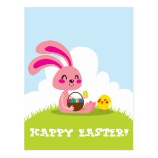 Easter Bunny and Chick Postcard