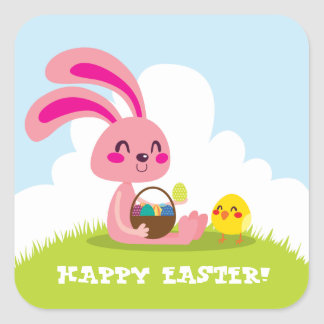 Easter Bunny and Chick Square Sticker