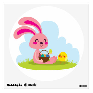 Easter Bunny and Chick Wall Sticker