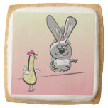Easter Bunny and Chicken Cartoon Square Shortbread Cookie
