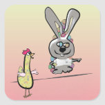 Easter Bunny and Chicken Cartoon Square Sticker