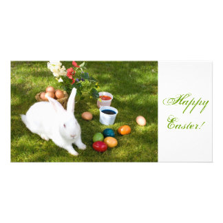 Easter Bunny And Colored Eggs Card