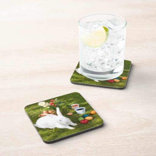 Easter Bunny And Colored Eggs Drink Coaster