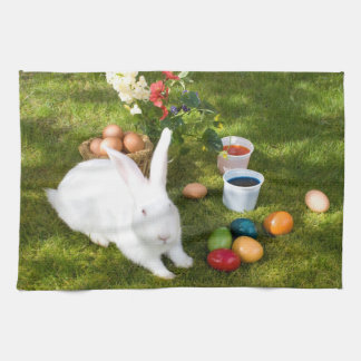 Easter Bunny And Colored Eggs Kitchen Towel