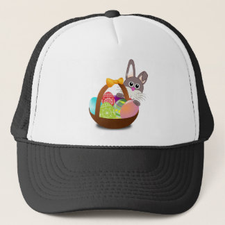 Easter Bunny and Colorful Egg Basket Trucker Hat