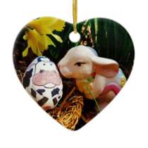 Easter Bunny and cow egg Ceramic Ornament