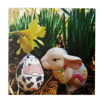 Easter Bunny and cow egg Ceramic Tile