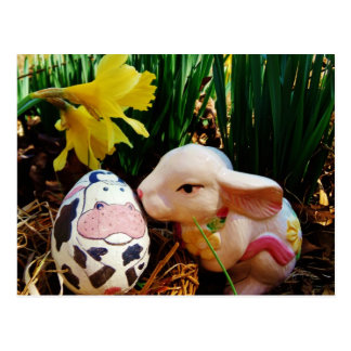 Easter Bunny and cow egg Postcard