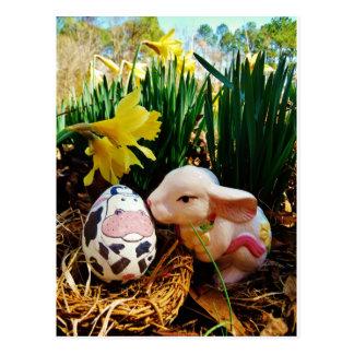 Easter Bunny and cow egg Postcard