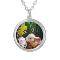 Easter Bunny and cow egg Silver Plated Necklace