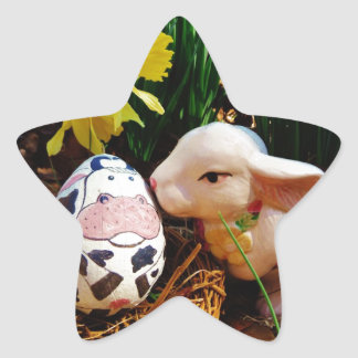 Easter Bunny and cow egg Star Sticker