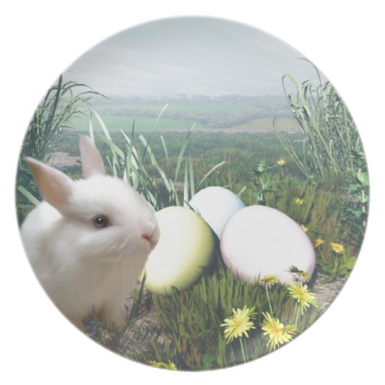 Easter Bunny and Easter Eggs Dinner Plate